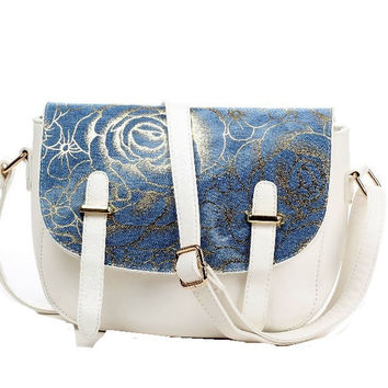 Womens White Leather , Denim and Gold Floral Highlight Shoulder Bag, Purse
