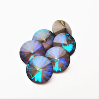 Six Ultra Cocoa 1122 12mm Unfoiled Swarovski Pointed Back Rivoli DKSJewelrydesigns