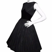 Vintage 50s Black Velvet Taffeta Full Skirt Party Dress 1950s Classic Swing Sz 0