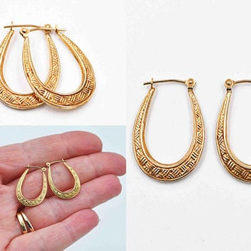 Vintage 10K Yellow Gold Hoop Pierced Earrings, Crosshatch, Elongated, Textured, 10K Gold Hoops, Post, Latch Back, So Nice! #c504