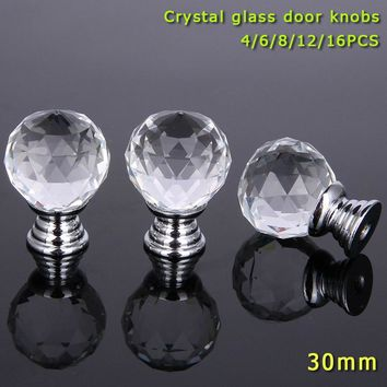 4/6/8/12/16 Pcs/Set 30MM Clear Crystal Glass Door Knobs With Screw Aluminum Alloy Furniture Handle For Drawer Wardrobe