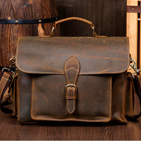 Handmade Leather messenger bag, leather shoulder bag, leather briefcase (M12)