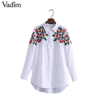 Women full cotton floral embroidery white long blouse oversized long sleeve loose shirt office wear casua tops blusas LT1411
