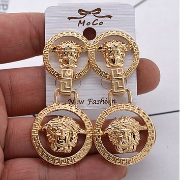 Gold VERSACE Earrings Womens Fashion Trending Round Medusa Head Temperament Jewelry