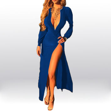 Blue Long Sleeve Deep V-Neck Wrap Ruched Front Slit Maxi Dress