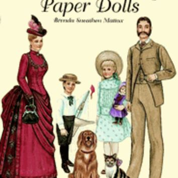Victorian Family Paper Dolls Girls Tea Party Reusable Activity Set