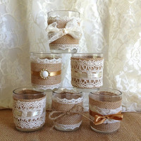 6 burlap and lace 10 hour tea candles, wedding decoration, bridal shower decor or home decor, vintage style