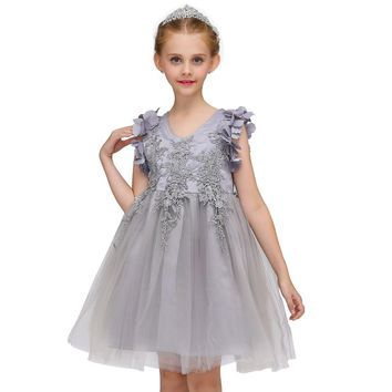 Girls Embroidery Princess Dress for Wedding Birthday Party Girl Lace Flower Dance