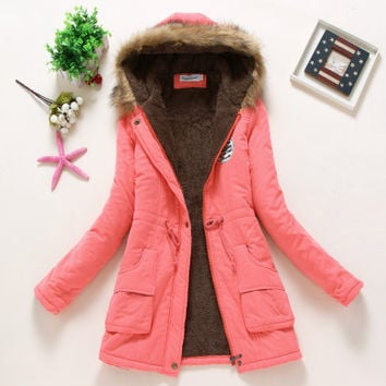 Pink Military Hooded Cotton Coat Winter Jacket Coats Women
