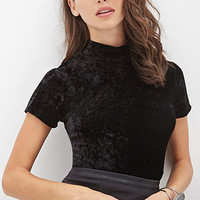 FOREVER 21 Velveteen Mock Neck Top