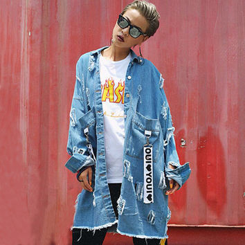 European Women Fashion 2016 autumn new letters labeling hole loose denim trench coat and long sections