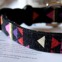 Pink Geometric Triangle Dog Collar 3/4 Inch Wide