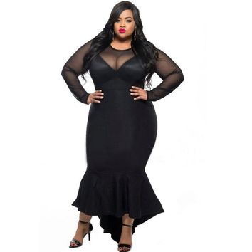 Sexy long sleeve mesh dress in plus sizes