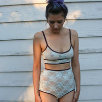 Robin's Egg High Waist Lace Panties