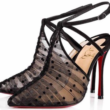 NIB Christian Louboutin Acide Lace 100 Black Mesh Criss Cross Strap Heel Pump 41