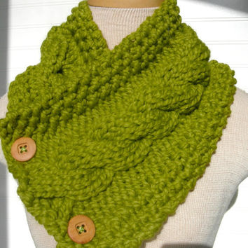 Knit Scarf Cable Cowl Lemongrass Green by WindyCityKnits on Etsy