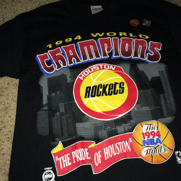Sale!! Vintage 1994 NBA World Champions HOUSTON ROCKETS black casual T shirts