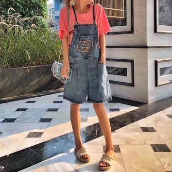"""Gucci"" Women Casual Simple Fashion Diamond Letter Denim Back Strap Pants Shorts Romper Jumpsuit Jeans"