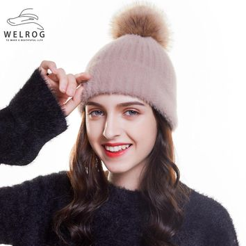 WELROG Hat Female Winter Casual Faux Rabbit Fur Hat Warm Earmuffs Knit Caps New Solid Fox Ball Poms Beanie Hat Soft Knitted Hats