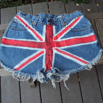high waist jean shorts brittish flag cheekys vintage 90's size 11