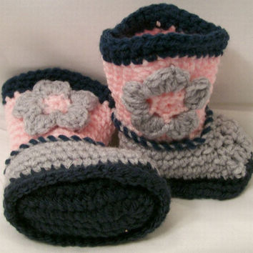 Baby Girls Boots, Cowboy Boots, Cowgirl, Pink Grey & Charcoal, Crochet Boots, Baby Girl gift, Baby Shower Gift ,Made in the USA, #219