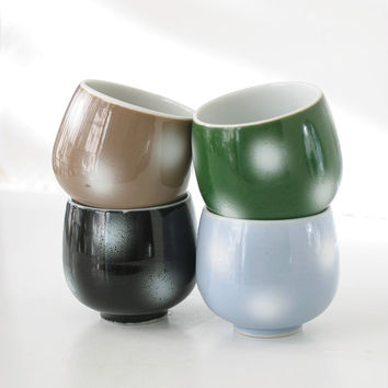 Vintage Japanese Teacups Snowball Set of Four Forest Green, Sky Blue, Sand Beige, Black