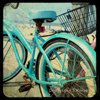 Vintage Bike Photograph Aquamarine bicycle Beach Boardwalk Ocean shore bike Wall Art 8x8
