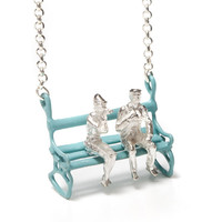 It's summer time! pastel blue bench necklace | Yael & Tal