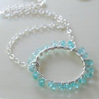 Apatite Wrapped Ring Gemstone Necklace by livjewellery on Etsy