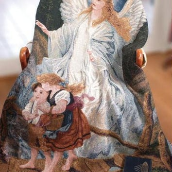 "Guardian Angel Throw Blanket -  "" In All Thy Ways Acknowledge Him, And He Shall Direct Thy Paths """