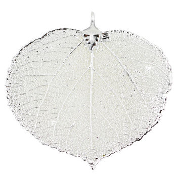 Real Leaf PENDANT ASPEN Dipped in Sterling Silver Genuine Leaf