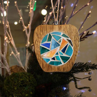 Upcycled Wooden Apple Ornaments, Handmade Wooden Apple Coasters, Stained Glass Mosaic Apple Coasters/Christmas Ornaments