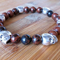 Mahogany Obsidian and Skulls Bracelet - Men's Bracelet - Gemstone Stackable Beaded Bracelet