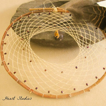 Willow dream catcher - mookaite jasper gemstone - hand spun silk - natural - large - 9 inch - Native American style
