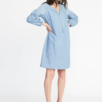Boho Tassel-Tie Chambray Shift Dress for Women | Old Navy