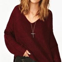 NWT LUXE PLUM WINE BURGUNDY V NECK HIGH LOW KNIT LONG SLEEVE TOP SWEATER TUNIC