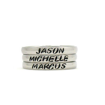 Personalized Stacking Ring, Custom Ring, Stainless Steel Ring, Stacking Ring, Custom Name Ring, Hand Stamped Stacking Ring, Anniversary Gift