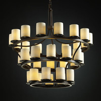 Justice Design Group POR871310SAWTMB Limoges Dakota 36-Light Matte Black Inverted Three-Tier Ring Chandelier - (In Matte Black)