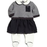 Baby Navy Blue & White Dress One-Piece