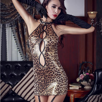 Hot Deal Cute Sexy On Sale Cats Gold Leopard Uniform Exotic Lingerie [6596134531]