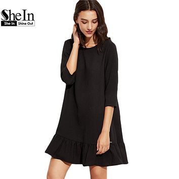 SheIn Woman Autumn Short Dresses Black Three Quarter Length Sleeve Round Neck Drop Waist  Ruffle Hem A Line Dress