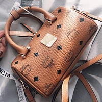 MCM Fashion new more letter print leather women pillow shape crossbody bag shoulder bag handbag Brown
