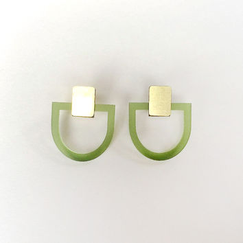 D Studs in Olive and Brass by Wolf & Moon