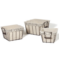 Adeco Multi-Purpose Rectangular Iron Baskets with Folding Handles and Faux Linen/Newsprint Lining Home Decor, Set of 3