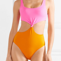 Solid & Striped - The Bailey cutout two-tone swimsuit