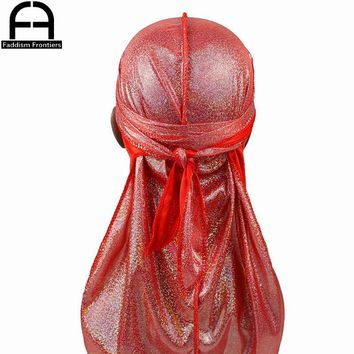 Men's Silky Sparkly Durags Turban Men Durag Shiny Du Rag Bandanas Hat Headwear Headband Hair Accessories Extra Long Tail Du-Rag