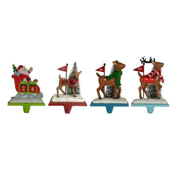 St. Nicholas Square 4-pece Santa and Deer Christmas Stocking Holder Set