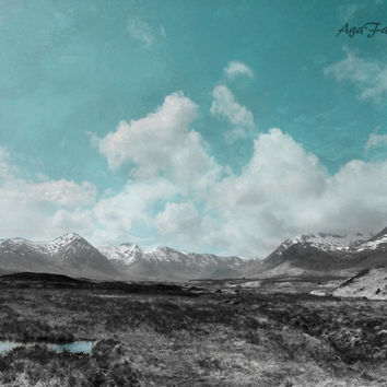 Large Wall Art, Mountain Photography, Landscape Print, Turquoise Abstract, Scotland Art, Black, White, Nature Art - Homelands