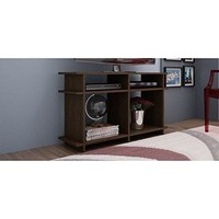 Suitable Wellington TV Stand with 4 Open Shelves in Tobacco