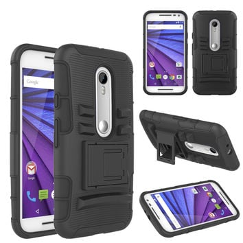 Motorola Moto G (2015) | XT1540 | XT1548 Case, Hybrid Dual Layer Armor[Shock/Impact Resistant] Case Cover with Built-in Kickstand for Motorola Moto G (2015) - Black